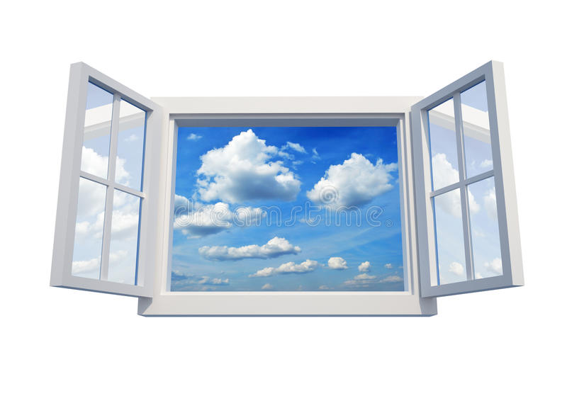 Window to sky. Window open to the sky isolated on white background - 3d render