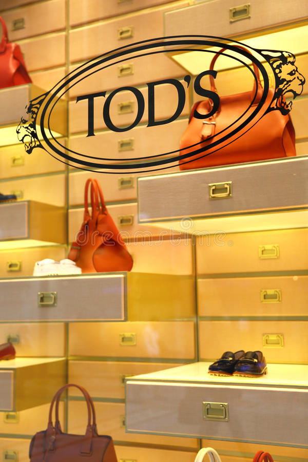 Window of Tod's boutique in Milan royalty free stock image