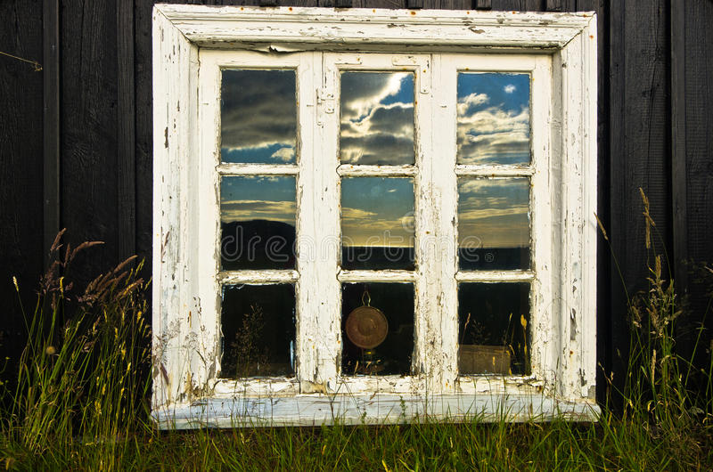 Window of traditional Icelandic house at Skogar royalty free stock photo