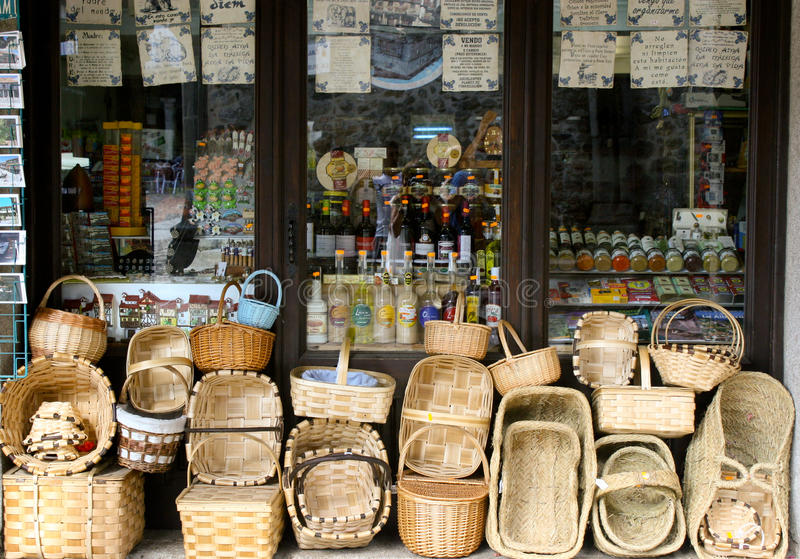 Window with typical products. Window of a shop of typical products in La Alberca, Salamanca, Spain stock photos