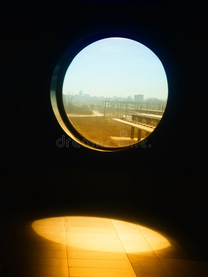 Window view. View trough window to the sunny morning stock photography