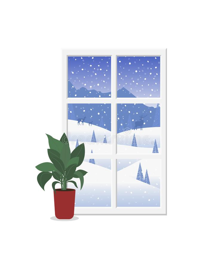 Window view of the beautiful winter landscape. vector illustration