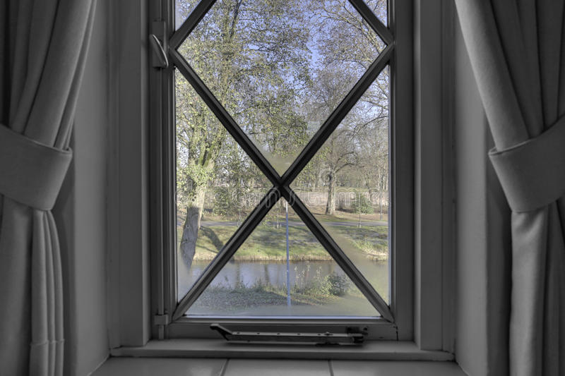 Window view black and white. Beautiful window view with beautiful nature black and white royalty free stock images
