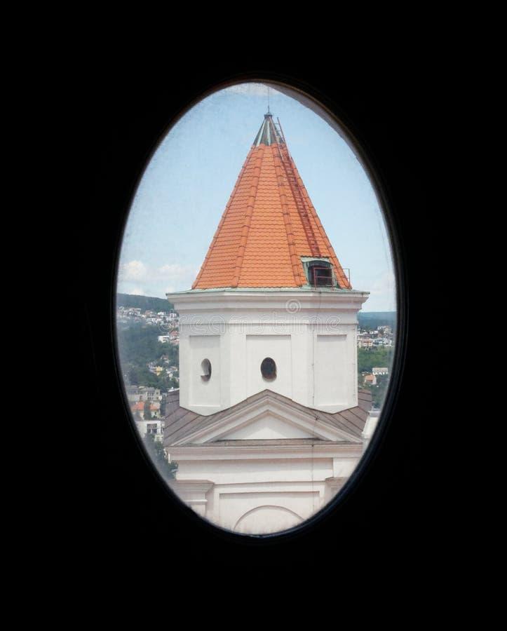 Window view of Bratislava castle tower stock image