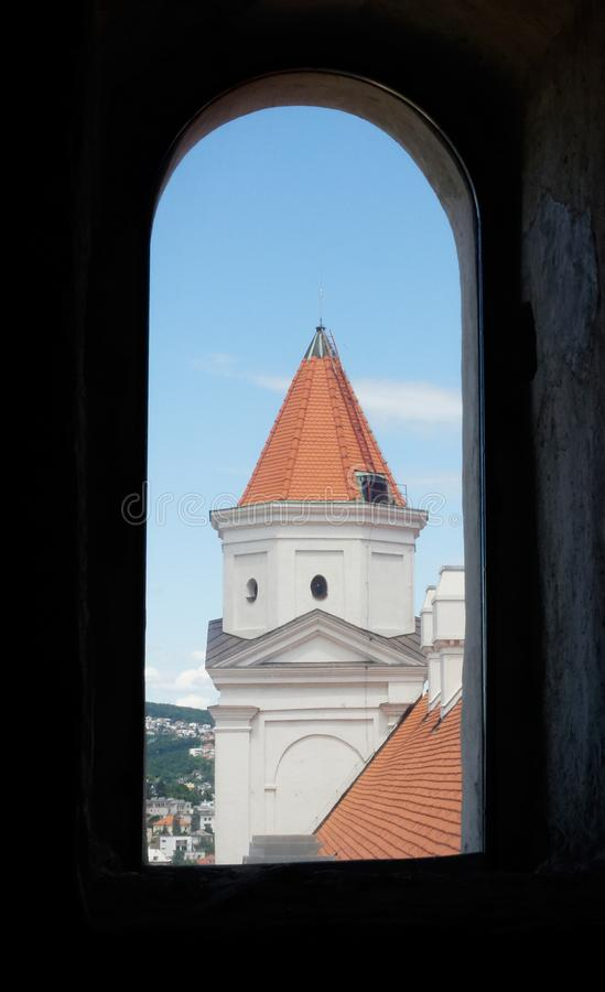 Window view of Bratislava castle tower stock images
