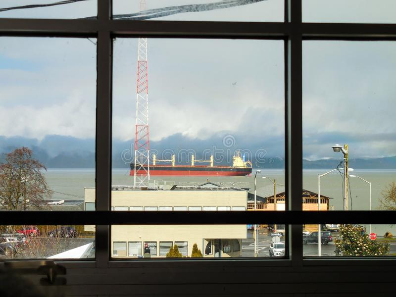 Window view of a Cargo Ship stock image
