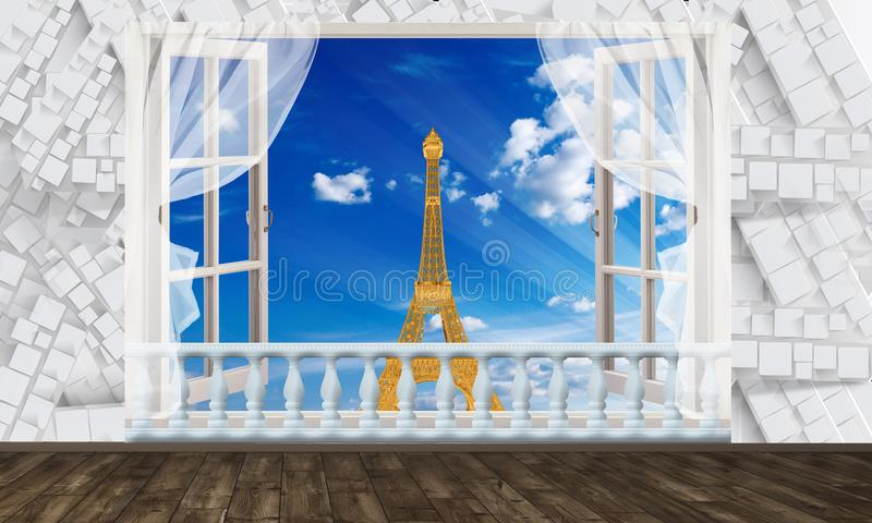 Window view of the Eiffel tower. Photo wallpaper for interior. 3D rendering. vector illustration