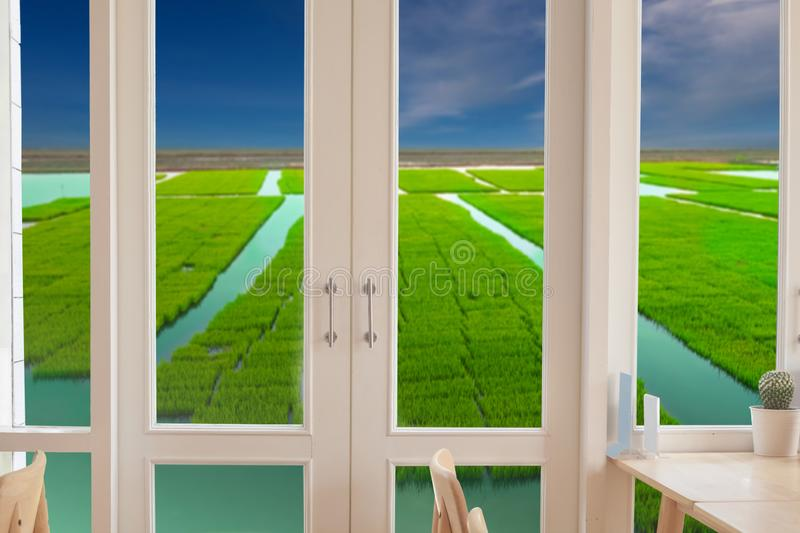 Window with a view of the green. Field royalty free stock photo