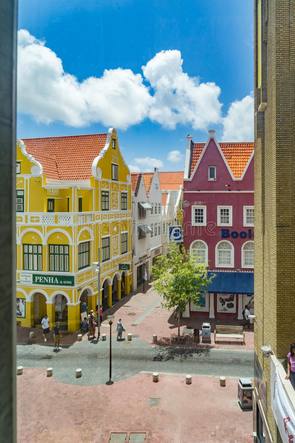Window view -of old buildings Punda Curacao Views royalty free stock photo