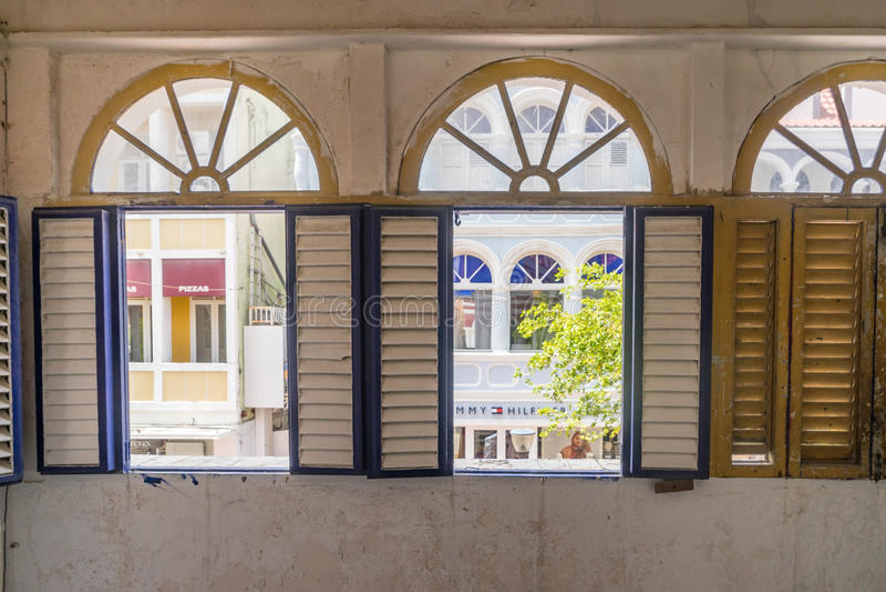 Window view -of old buildings Punda Curacao Views stock photos