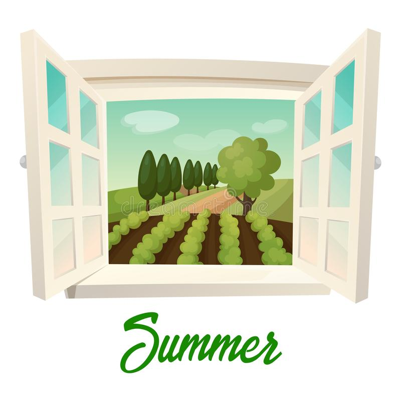 Window with view on summer farm or garden. Summer farm panorama. Outdoor or outside panorama from window with joints at field with crop and trees, garden royalty free illustration