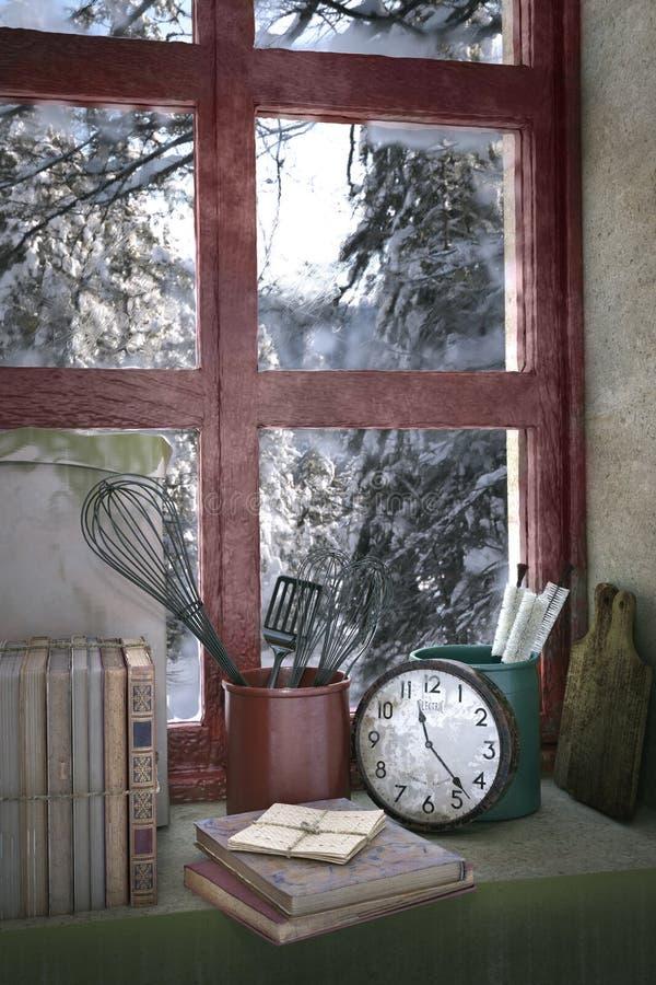 snowy forest behind window, 3d illustration stock illustration