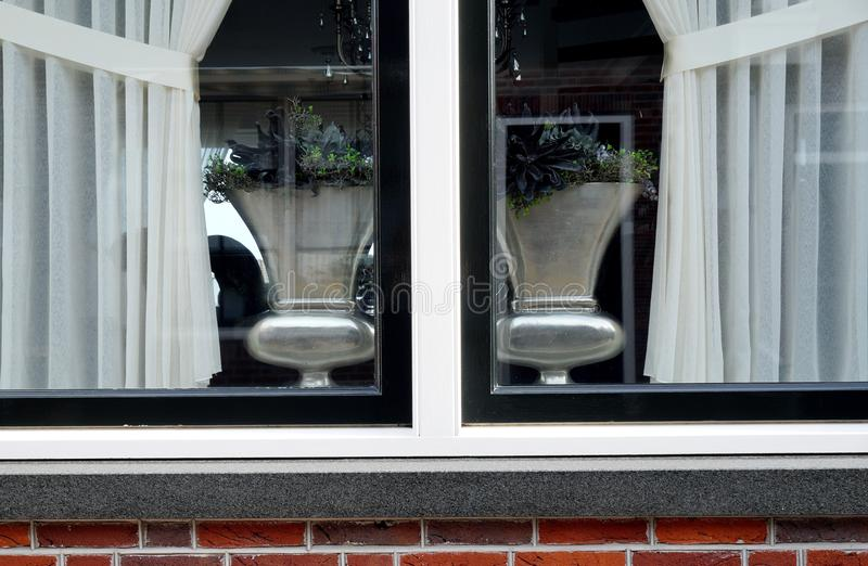 A window. Through the window in Volendam Netherlands royalty free stock photography