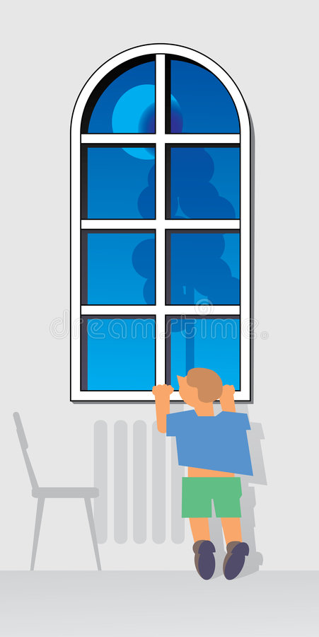 Window and waiting. Window at evening. Moon and tree outside. Small boy is waiting and traying to look thru window vector illustration
