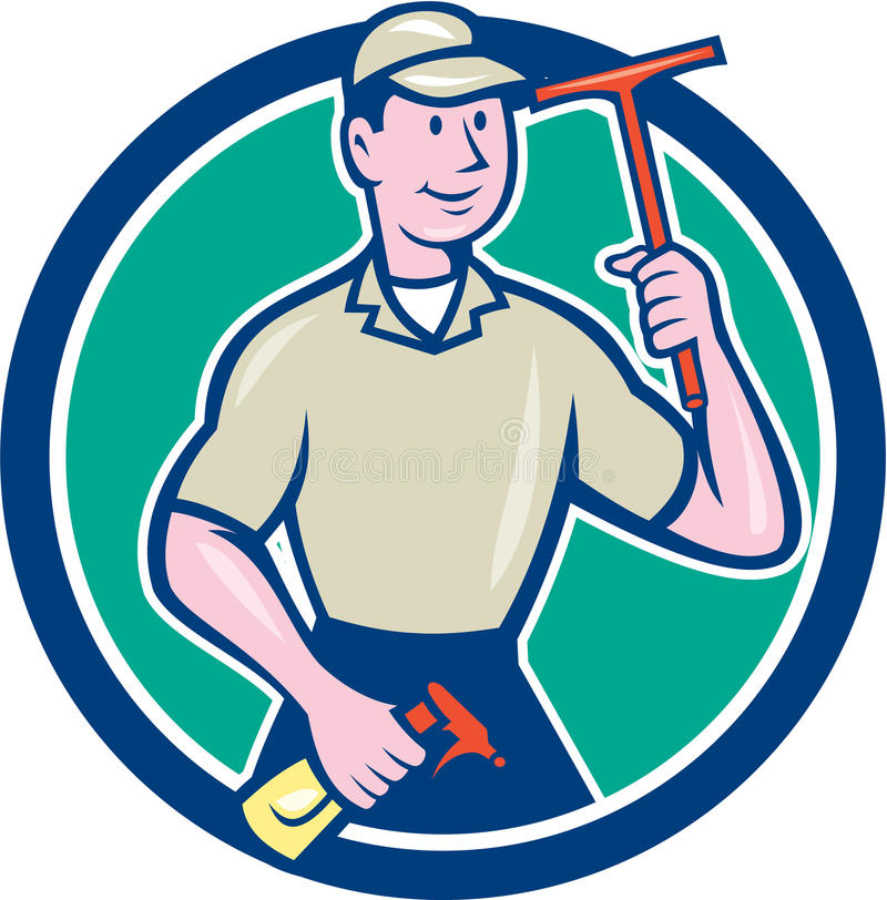 Window Washer Cleaner Squeegee Cartoon. Illustration of a window washer cleaner holding squeegee and spray viewed from front set inside circle on isolated stock illustration