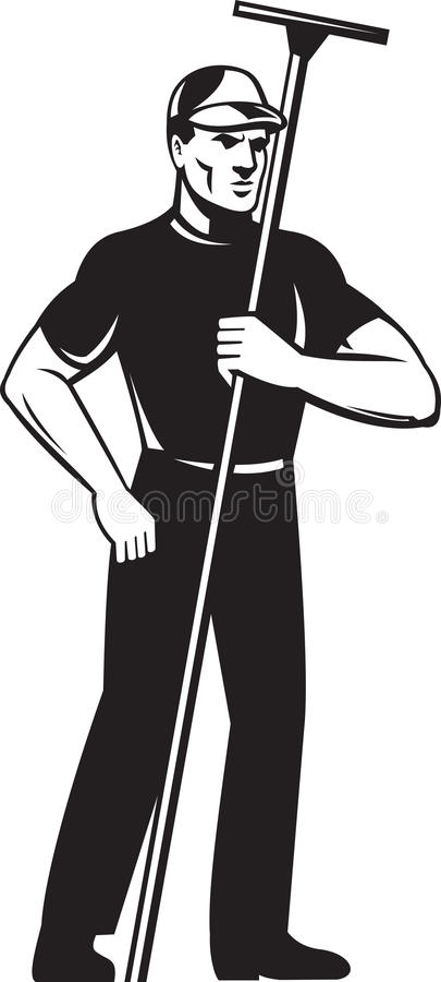 Download Window Washer Cleaner Worker Standing Stock Illustration - Image: 21476211
