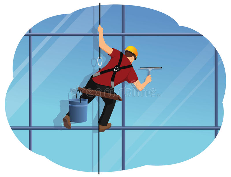 Window washer. Is cleaning high office building using a squeegee. Housekeeping service stock illustration