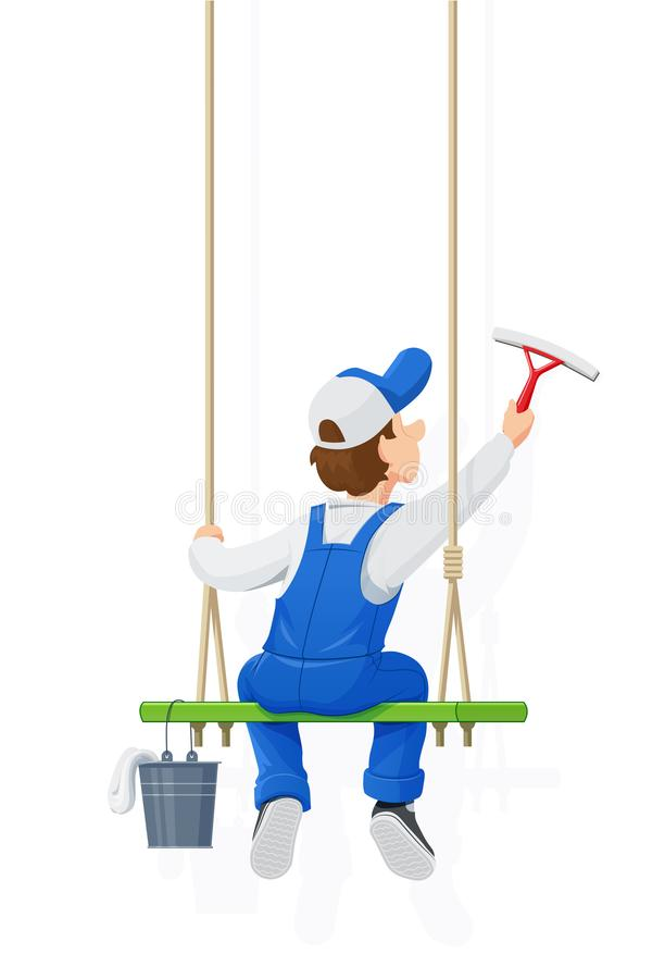 Window washer. Cleaning service. Cartoon character. vector illustration