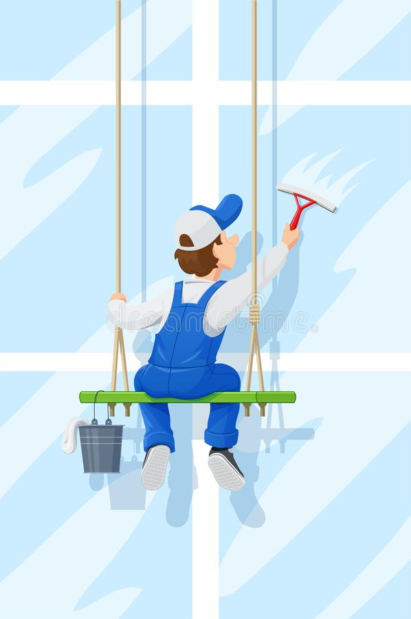 Window washer. Cleaning service. Cartoon character. royalty free illustration