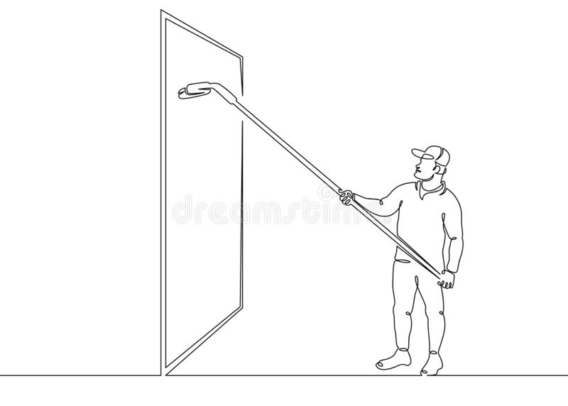 Window washer glass. One continuous single drawn line art doodle man cleaner, window washer, glass, janitor, worker, job, mop, work, service . Isolated image stock illustration