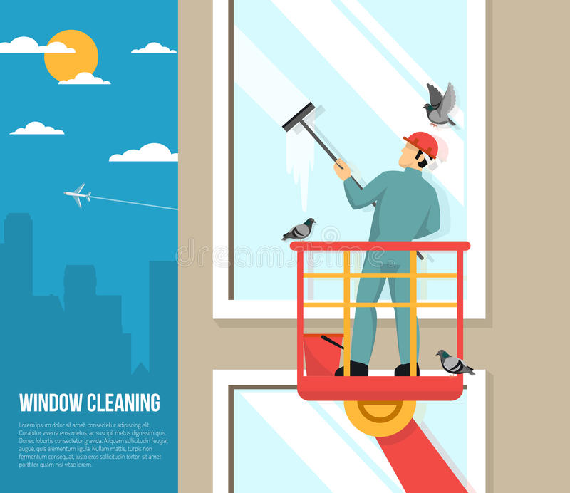 Window Washer At Work Flat Illustration. Professional washer cleaning tall office building windows with rubber squeezer flat placard poster abstract vector stock illustration