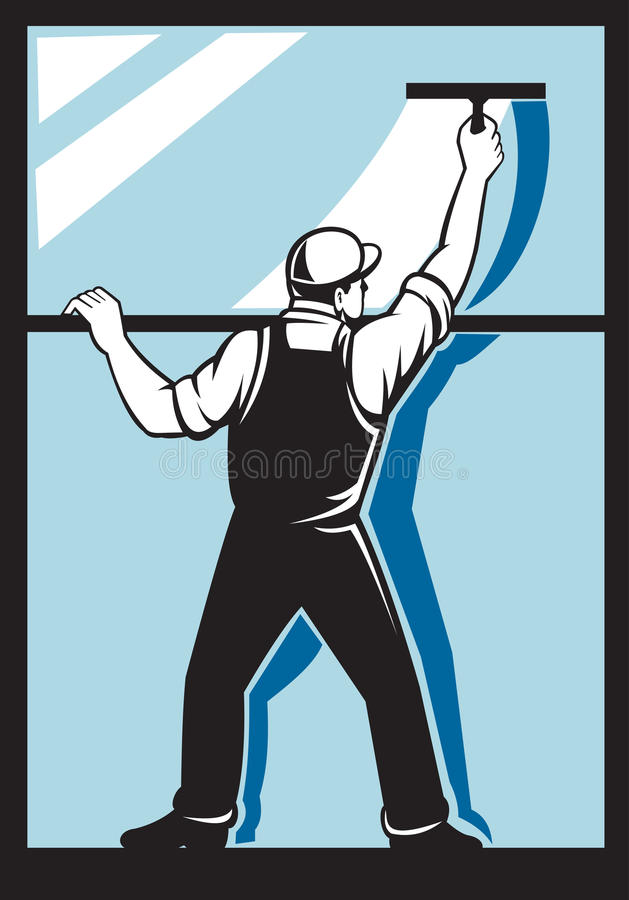 Window washer worker cleaning washing. Illustration of a window washer worker washing viewed from rear done in retro style stock illustration