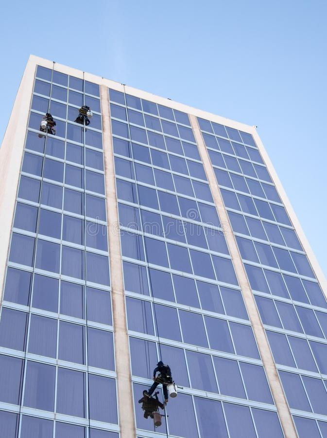 High rise window washers. Window washers high above the river walk, Laughlin, Nevada stock photos