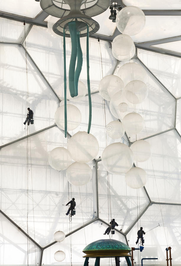 Download Window Washers Inside The Water Cube Editorial Stock Image - Image: 24658724