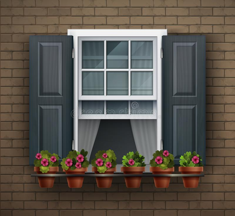 Free Window With Flower Pots On A Wall. Cartoon House Element. Close Up View Of Nice White Framed Window With Flowers Stock Photos - 144467013