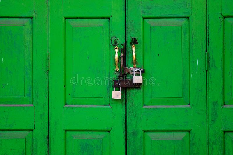 Window with the wooden carved architrave royalty free stock image