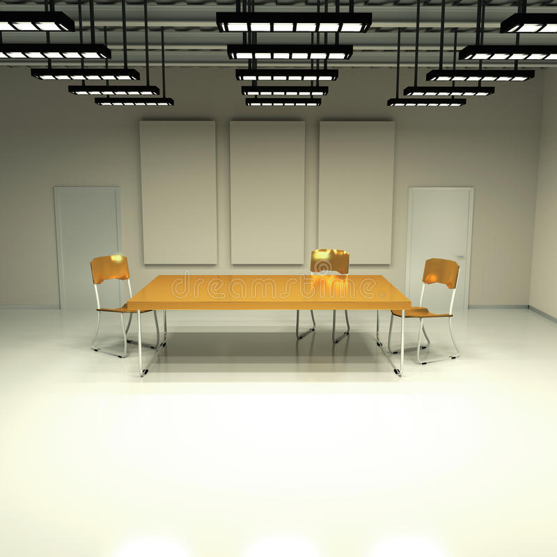 Windowless room with table and chairs stock illustration