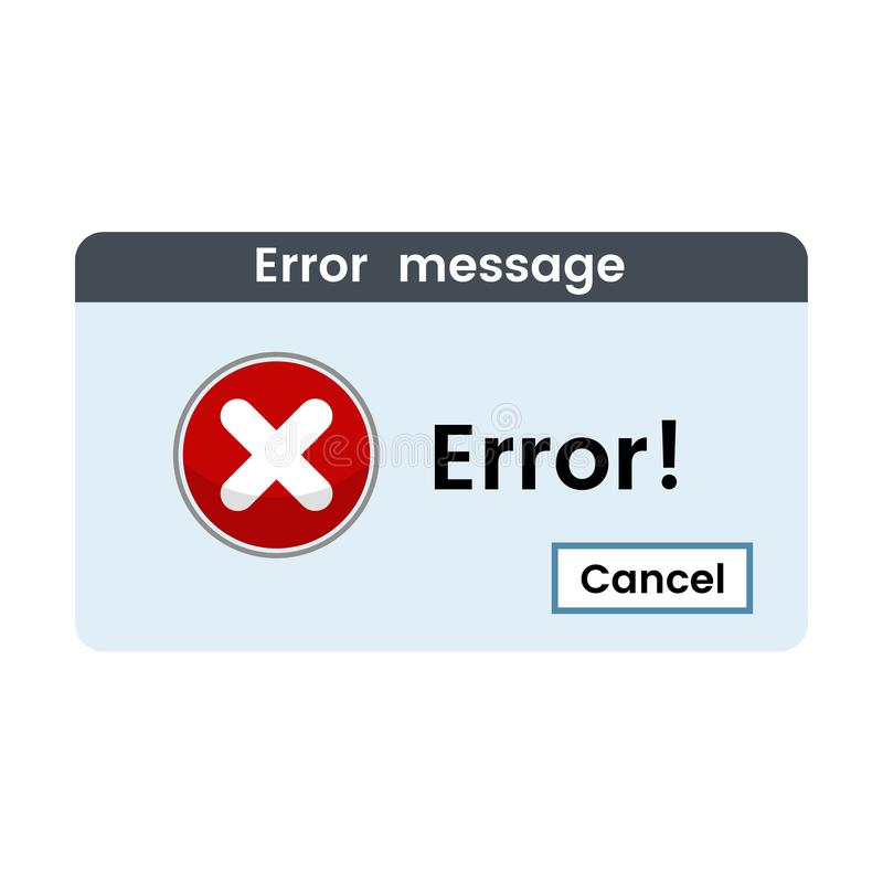 Windows错误信息 警告系统失败 o 皇族释放例证