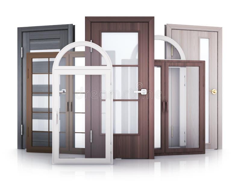 Windows и двери на белой предпосылке иллюстрация штока