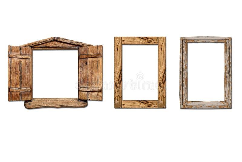 Windows старое сделало из деревянного на белой предпосылке стоковое изображение rf