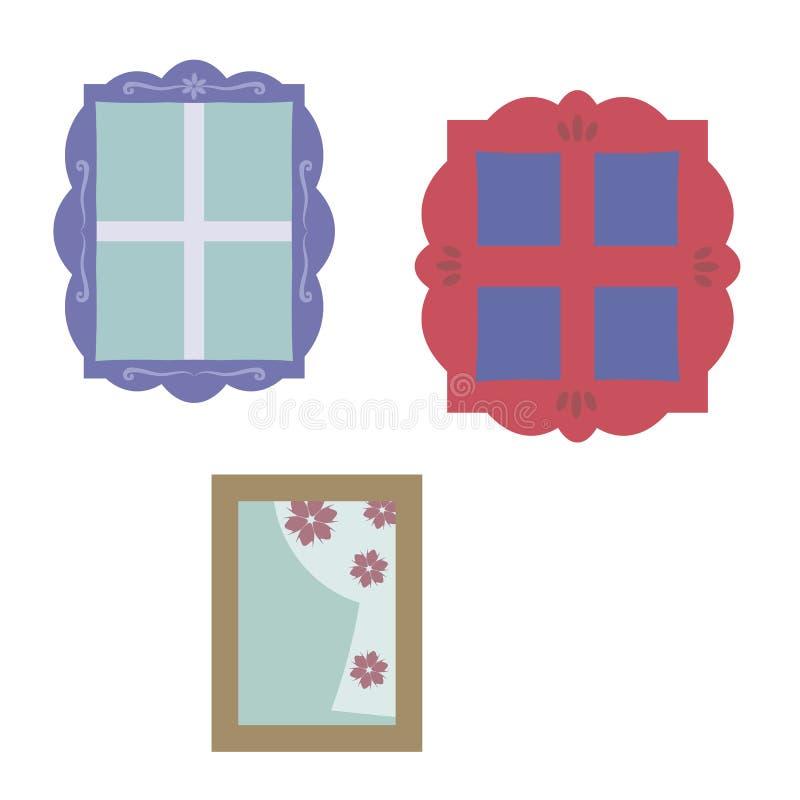 Windows с деревянными различными покрашенными вычисляемыми рамками с резным изображением бесплатная иллюстрация