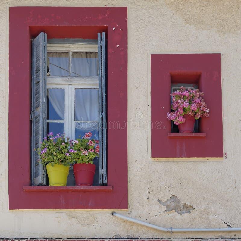 Windows с цветочными горшками, Kalavryta Греция стоковая фотография