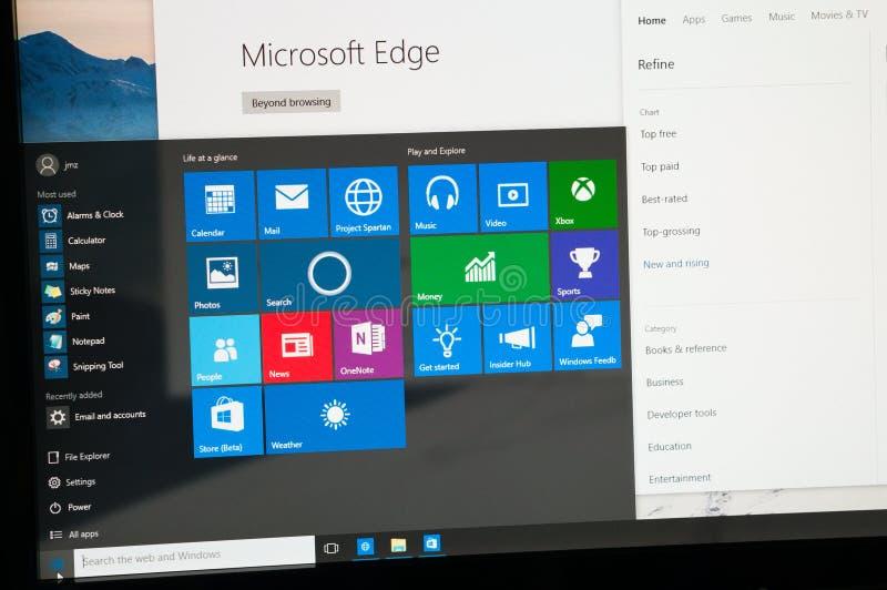 Windows 10跑在个人计算机的知情人预览照片  库存图片