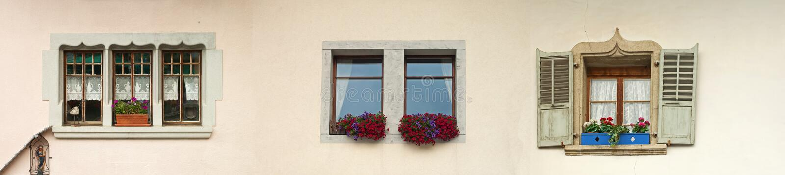 Windows. Different windows with colorful flowers royalty free stock photo