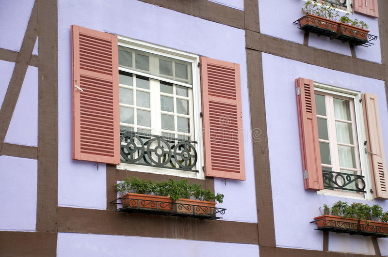 Windows. Typical of France-balconies typical of Windows stock photo