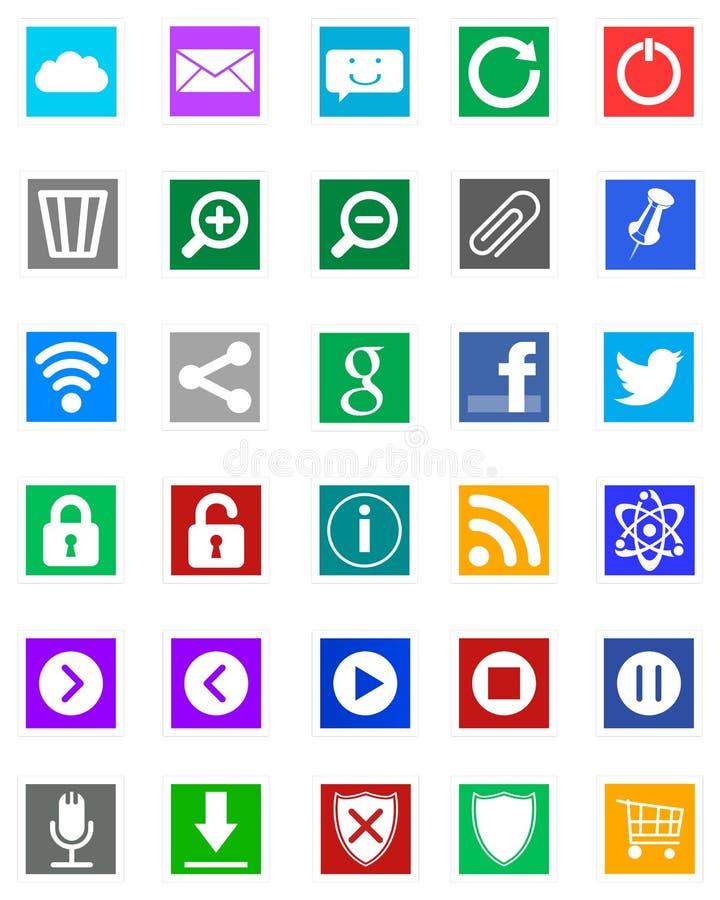 Windows 8 iconos - estilo del metro imagenes de archivo