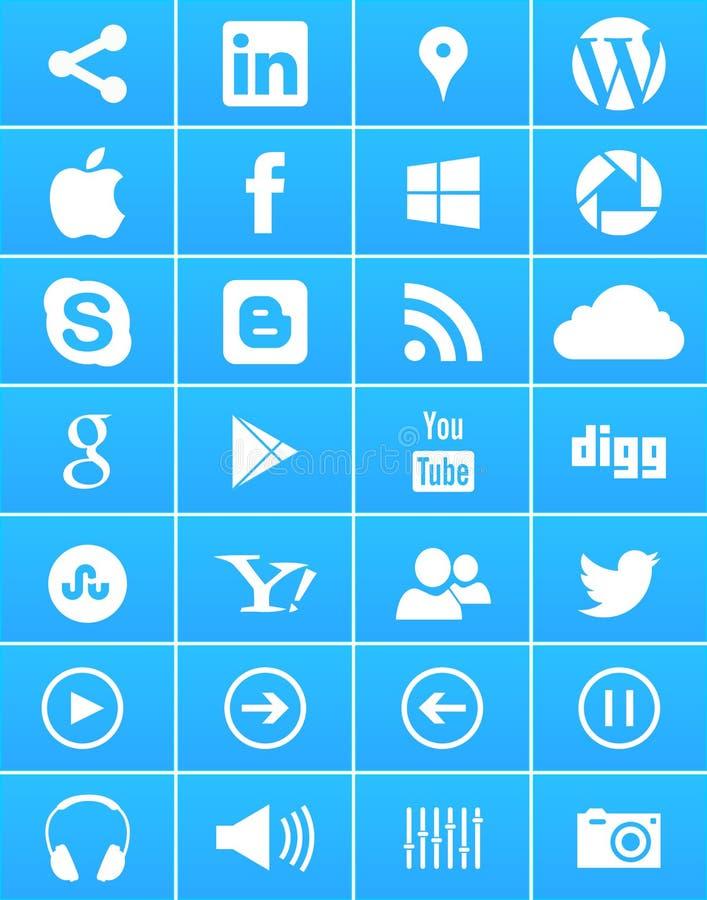 Windows 8 sociala massmediasymboler royaltyfri illustrationer