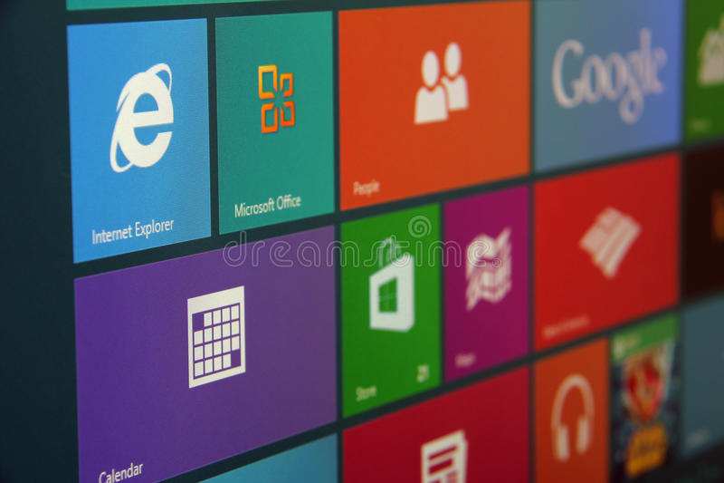 Windows 8 Start Screen Angled royalty free stock photo