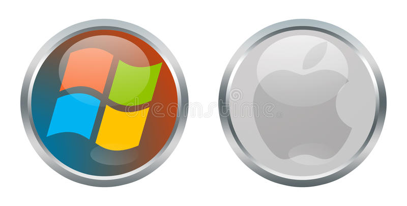 Windows and Apple signs. Microsoft Windows and Apple signs