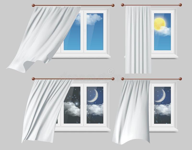 Windows avec l'illustration blanche de vecteur de rideaux illustration stock