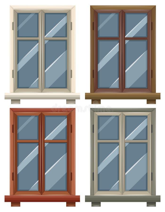 Windows avec quatre cadres illustration stock
