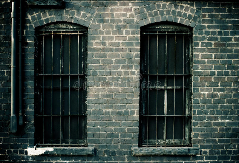 Windows with bars stock image