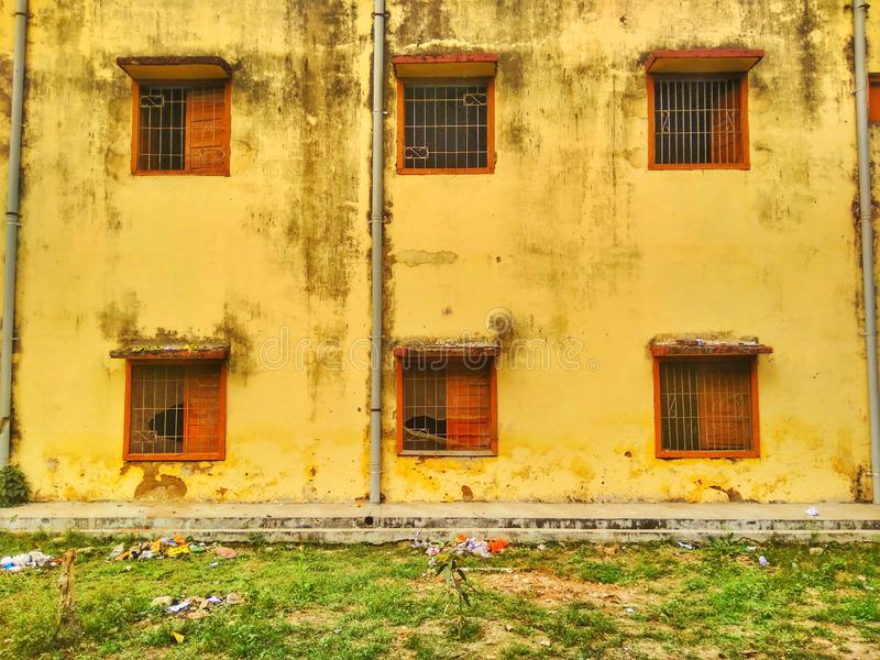 Windows of a building. In back side royalty free stock photo