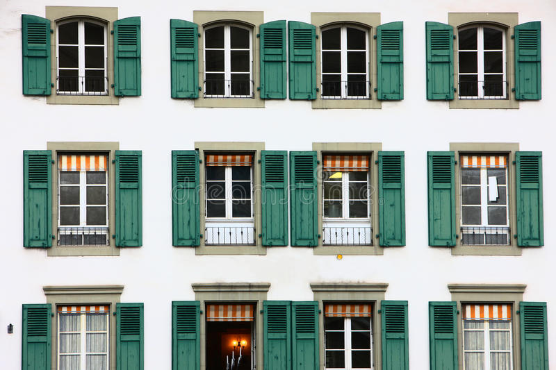 Windows on building in Bern royalty free stock images