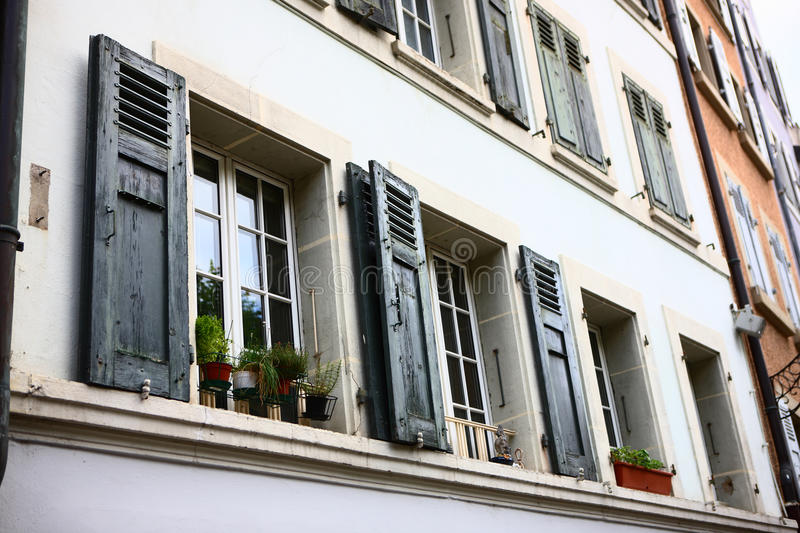 Windows on building in Bern stock images