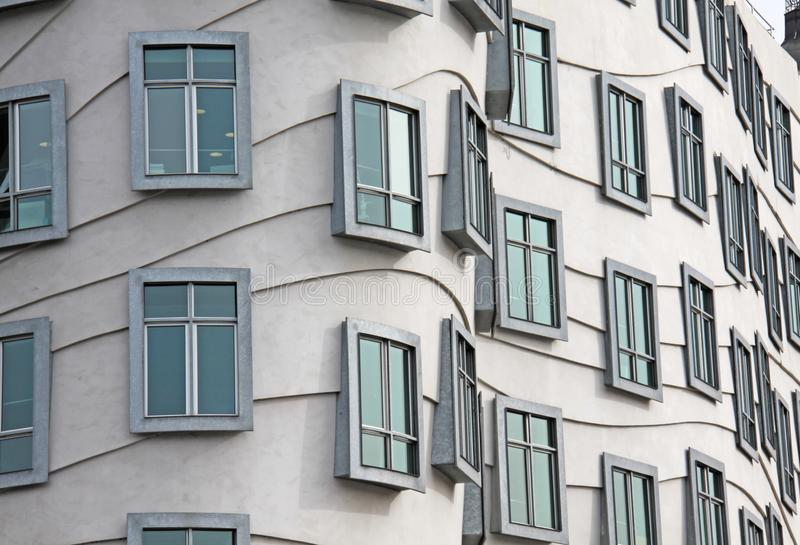 The windows in the building are a wave. City of Prague, Czech Republic stock photo